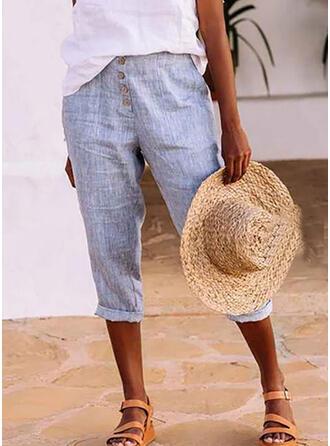 Solid Linen Capris Casual Shirred Pants Lounge Pants