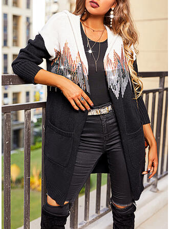 Print Color Block Sequins Hooded Casual Sweater Dress