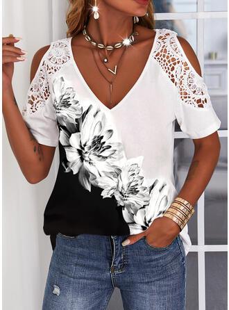 Print Floral Lace Cold Shoulder Short Sleeves Cold Shoulder Sleeve Casual Blouses