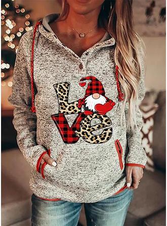Print Grid Leopard Figure Pockets Long Sleeves Christmas Sweatshirt