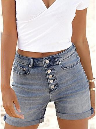 Solid Denim Above Knee Casual Vintage Plus Size Pocket Button Pants Shorts Denim & Jeans