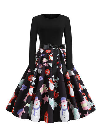Print Long Sleeves A-line Knee Length Vintage/Christmas/Casual/Party/Elegant Skater Dresses