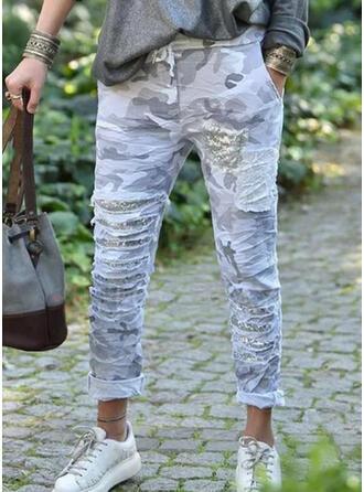 Print Camouflage Sequins Long Casual Plus Size Pocket Drawstring Pants