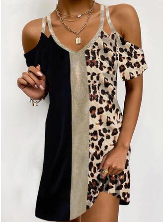 Color Block/Leopard Short Sleeves Cold Shoulder Sleeve Shift Above Knee Elegant Dresses