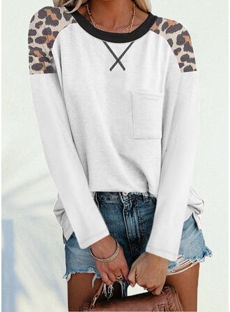 Leopard Round Neck Long Sleeves T-shirts