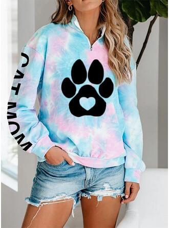 Print Heart Letter Animal Lapel Long Sleeves Sweatshirt