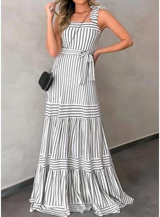 Striped Sleeveless A-line Skater Casual Maxi Dresses