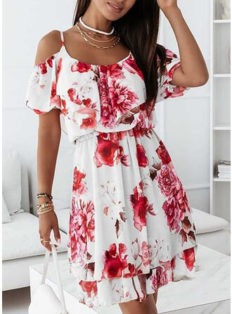 Floral Short Sleeves Cold Shoulder Sleeve A-line Above Knee Vacation/Cute Dresses