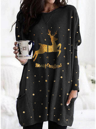 Animal Print Figure Pockets Round Neck Long Sleeves Christmas Sweatshirt