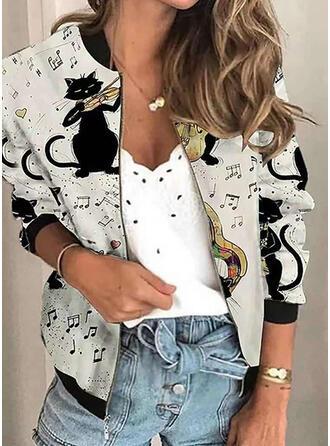 Long Sleeves Print Animal Jackets