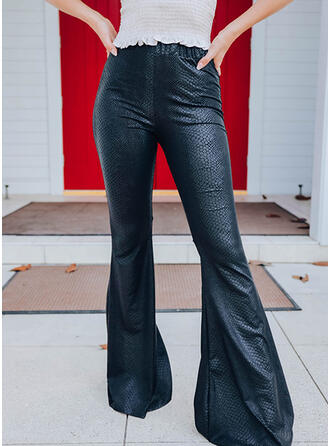 Solid Long Casual Vintage Pants