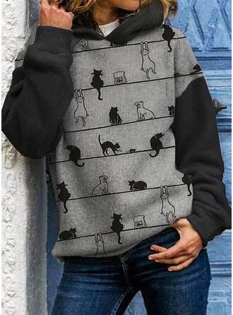 Print Color Block Animal Hooded Long Sleeves Hoodie