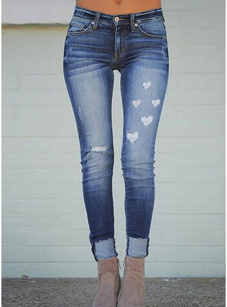 Print Heart Long Casual Plus Size Pocket Ripped Button Pants Denim & Jeans