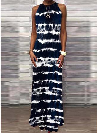 Tie Dye Sleeveless Shift Casual Maxi Dresses