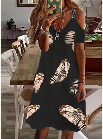 Print Sequins Short Sleeves Cold Shoulder Sleeve A-line Above Knee Casual/Vacation Skater Dresses