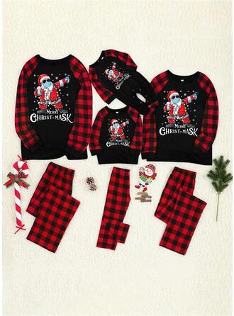 Santa Plaid Letter Print Family Matching Christmas Pajamas