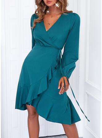 Solid Long Sleeves A-line Knee Length Elegant Wrap/Skater Dresses