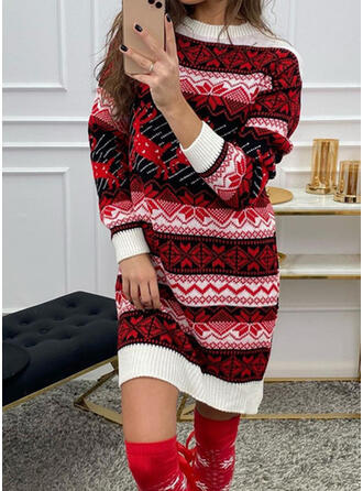 Christmas Print Round Neck Casual Sweater Dress