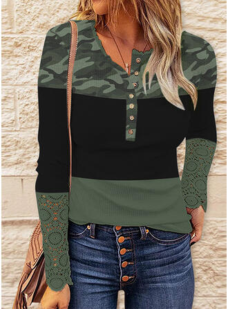Camouflage Color Block Print V-Neck Long Sleeves T-shirts