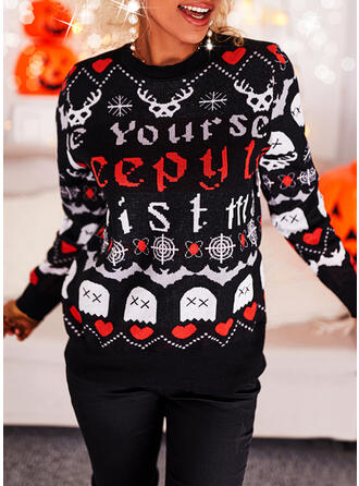 Halloween Print Heart Letter Animal Round Neck Casual Sweaters