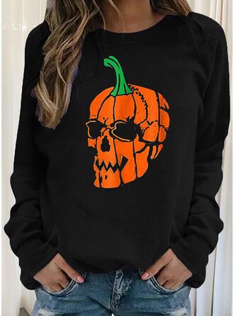 Halloween Skull head Round Neck Long Sleeves Sweatshirt
