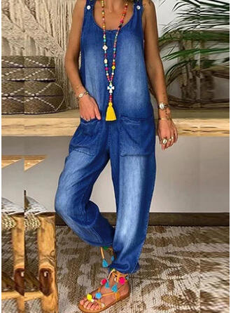 Solid Denim Strap Sleeveless Casual Jumpsuit