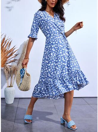 Print 1/2 Sleeves A-line Wrap/Skater Casual Midi Dresses
