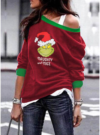 Print Figure One Shoulder Long Sleeves Christmas Sweatshirt