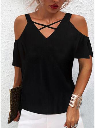 Solid Cold Shoulder Short Sleeves T-shirts