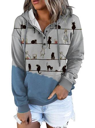 Color Block Animal Hooded Long Sleeves Hoodie