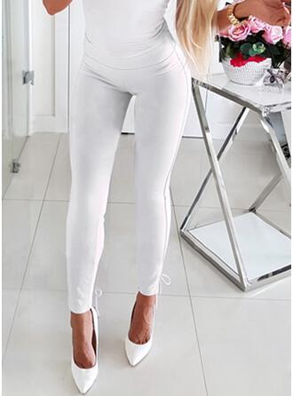 Solid Patchwork Drawstring Long Elegant Sexy Pants