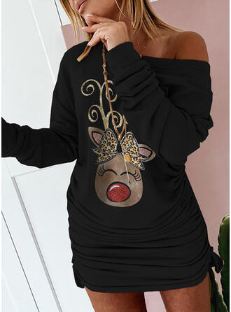 Christmas Print/Leopard/Animal Long Sleeves Dropped Shoulder Bodycon Above Knee Party Sweatshirt Dresses