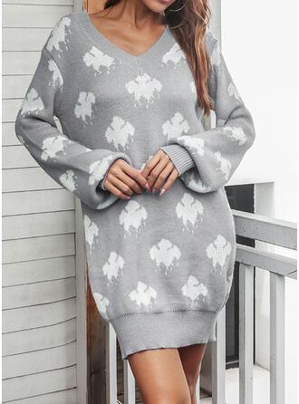 Print V-Neck Casual Sweater Dress