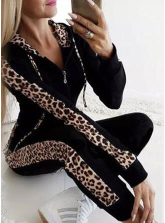 Leopard Sporty Casual Plus Size Sweatshirts & Two-Piece Outfits Set