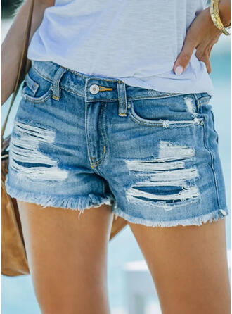 Solid Denim Above Knee Casual Plus Size Pocket Shirred Ripped Pants Shorts Denim & Jeans