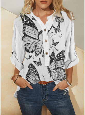 Print Butterfly V-Neck Long Sleeves Casual Blouses