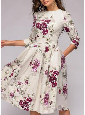Print/Floral 3/4 Sleeves A-line Knee Length Vintage/Casual/Party/Elegant Dresses