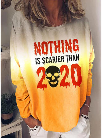 Halloween Gradient Print Letter Round Neck Long Sleeves T-shirts