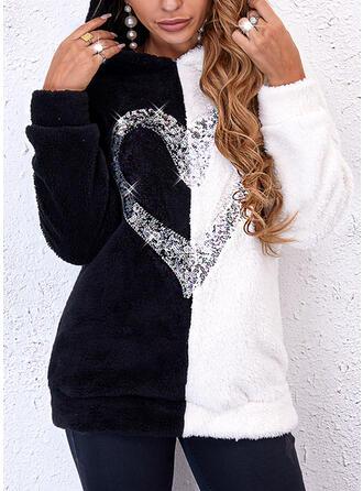 Print Color Block Heart Hooded Long Sleeves Hoodie