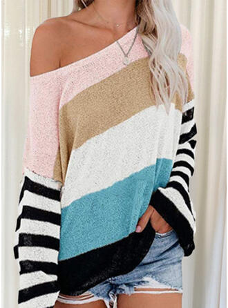 Print Color Block Striped Round Neck Casual Sweaters
