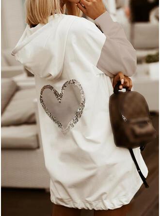 Color Block Heart Sequins Long Sleeves Hoodie