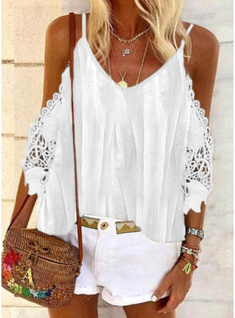 Print Lace Cold Shoulder 3/4 Sleeves Casual Blouses