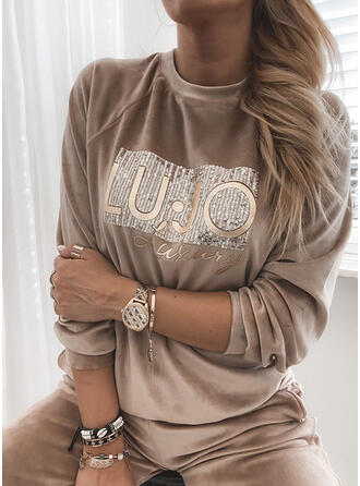 Sequins Letter Round Neck Long Sleeves Sweatshirt