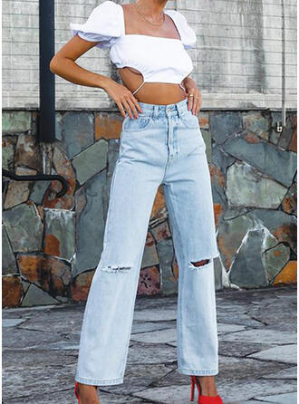 Solid Cotton Long Casual Pocket Ripped Denim & Jeans