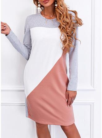 Color Block Long Sleeves Shift Knee Length Casual T-shirt Dresses