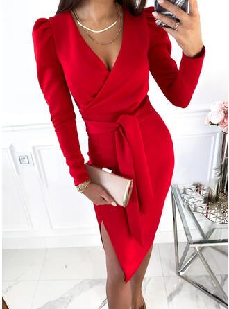 Solid Long Sleeves Puff Sleeve Sheath Knee Length Elegant/Office/Business Wrap Dresses