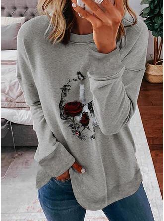 Halloween Print Floral Animal Round Neck Long Sleeves Sweatshirt