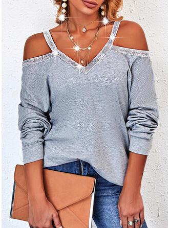 Solid Sequins Cold Shoulder Long Sleeves Sweatshirt