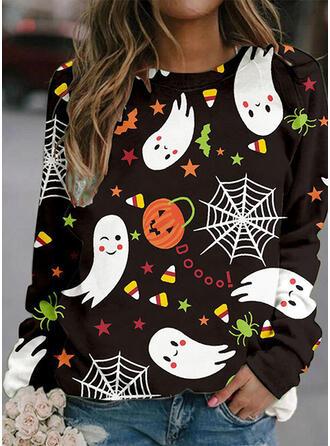 Halloween Print Letter Round Neck Long Sleeves Sweatshirt