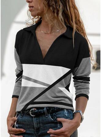 Color Block Lapel Long Sleeves T-shirts